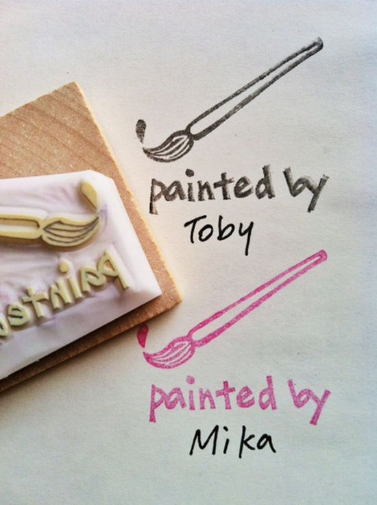 painting hand carved rubber stamp hand