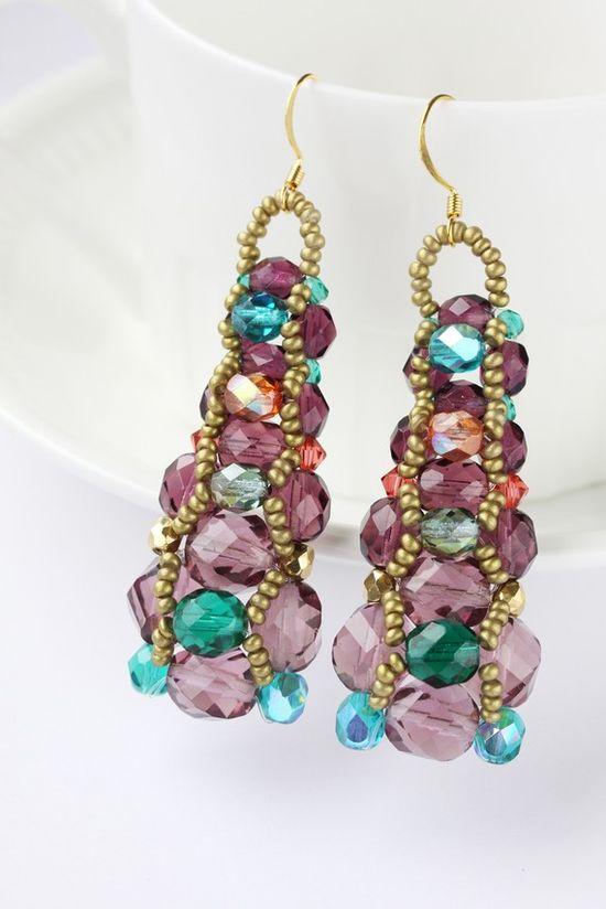 Purple Earrings Dangle Beadwork Drop Long by BohemiaJewelry, $46.00