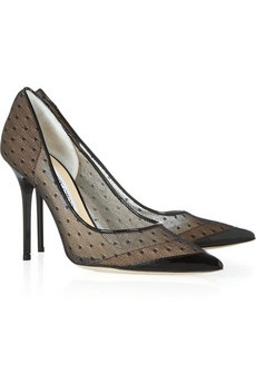Jimmy Choo  Barb lace pointed-toe pumps, $695