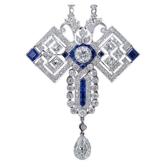 Art Deco Diamond and Sapphire Pendant Necklace  c.1920's