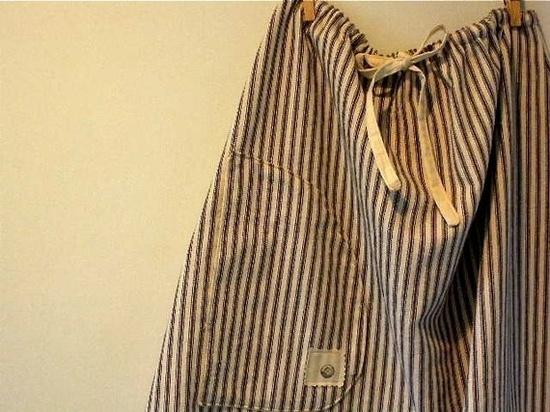 Drawstring ticking skirt