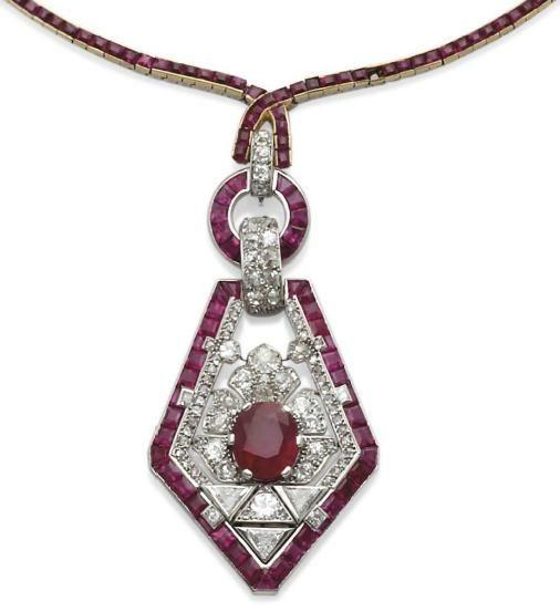 Diamond and ruby necklace, Cartier. Circa 1925.