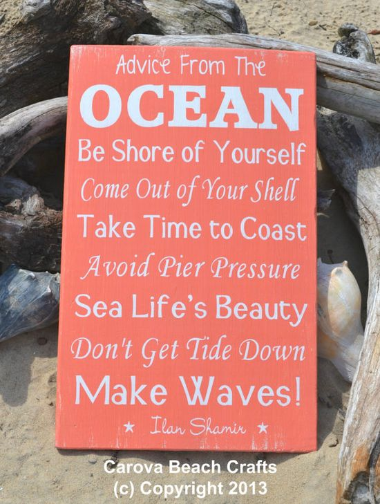 Nathan would love this because he loves everything about the ocean!! Beach Decor  Coastal Decor  Nautical  Advice by CarovaBeachCrafts