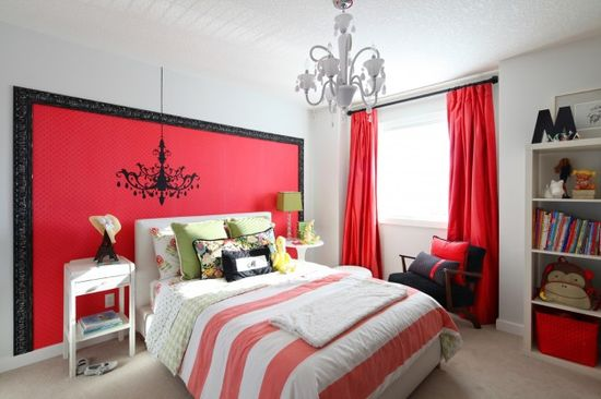 Bold and bright teen girl bedroom design