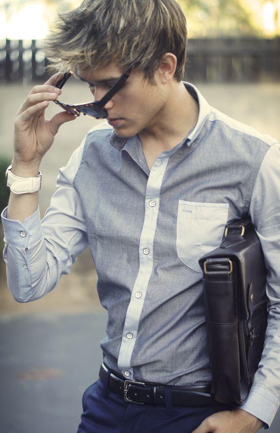Two tone block chambray shirt