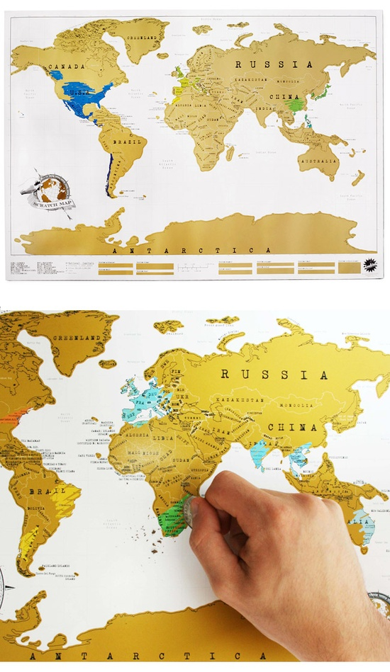 Where I've Been scratch off map - great gift for the jet setter $24
