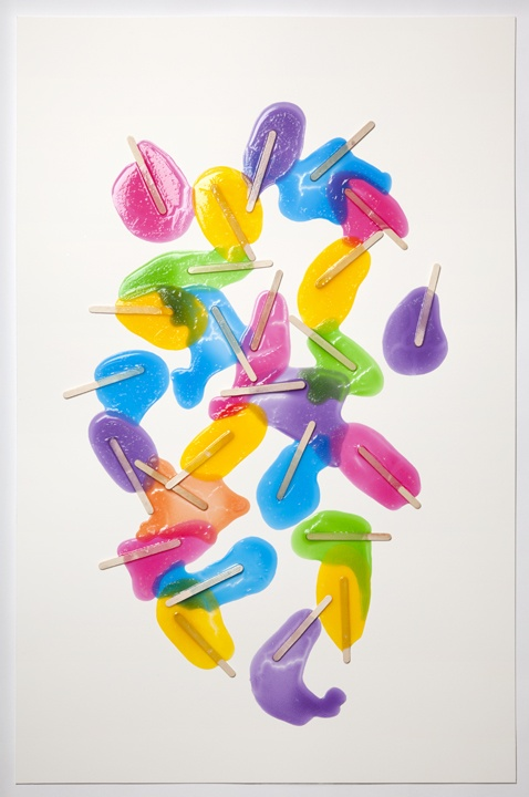 "Evan Robarts, Popsicles (Rainbow) #15. 2011  Gloss medium, popsicle sticks, india ink on paper  26"" x 40"""