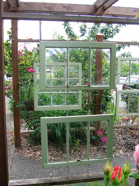 recycled windows in the garden