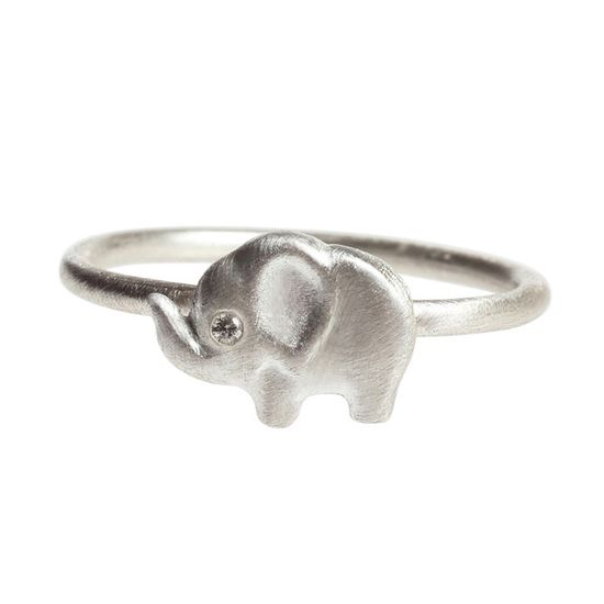 Elephant Side Diamond Ring