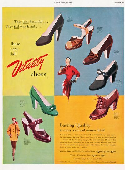 An array of lovely colours and styles, all classic and completely wearable. #1950s #ad #shoes #vintage #retro #fashion