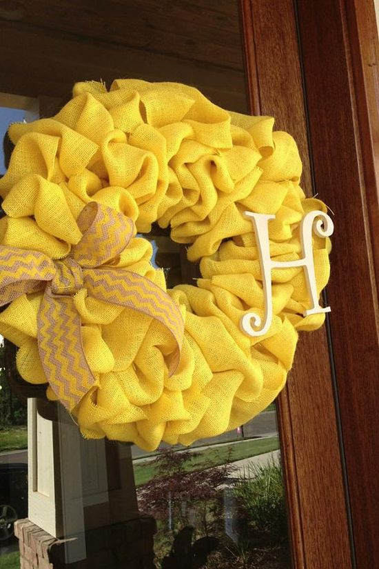 Yellow Burlap Monogram Wreath With Burlap Chevron Bow   on Etsy, $55.00