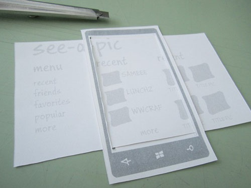 Paper prototyping a Windows Phone app