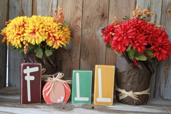 FALL blocks with cute pumpkin -