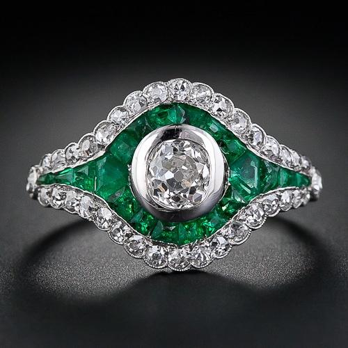 ca. 1925 French Diamond and Calibre Emerald Art Deco Ring