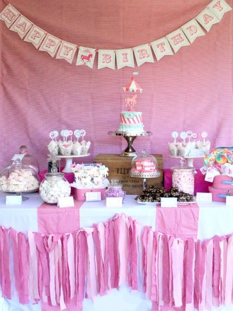 Lovely pink carousel party! See more party ideas at CatchMyParty.com!  #circus #partyideas