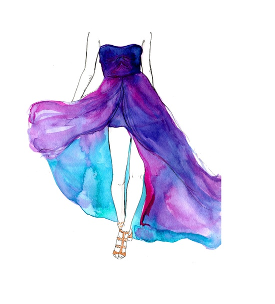 Original Watercolor and pen fashion illustration by Jessica Durrant titled, Dreamy Dress. Stunning