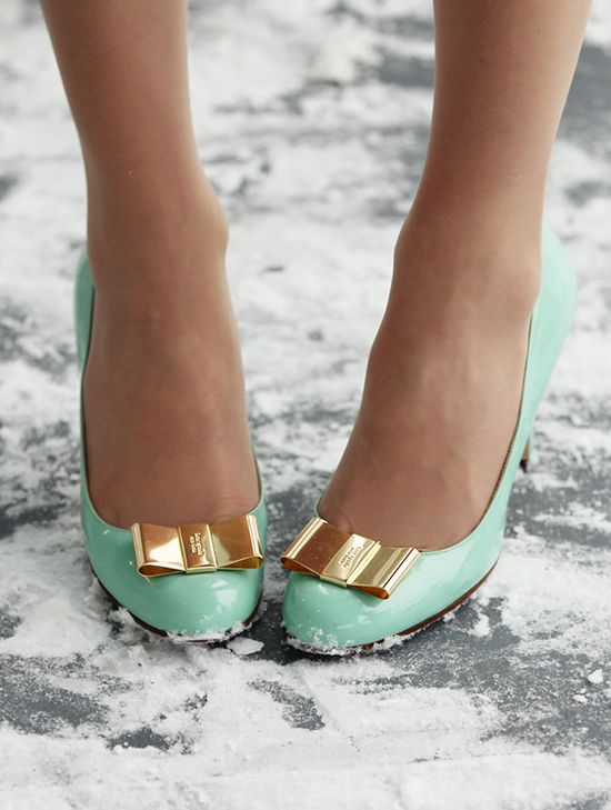 mint and gold bow heels