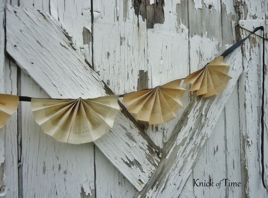 Antique Book Page Bunting - Custom options available.