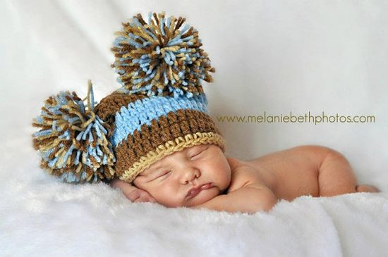 Baby Boy Pom Pom Hat by CrochetMeSomethin