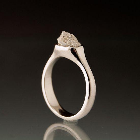 Rough Diamond Pebble Engagement Ring in Silver/Palladium Modern Minimal Diamond Ring by NodeformWeddings on Etsy
