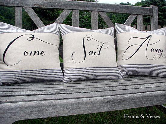 Come Sail Away  Nautical Pillow Cover Set