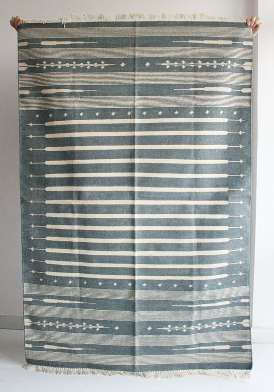 Handmade Rug in Grey 4 x 6 Feet. $288.00, via Etsy.