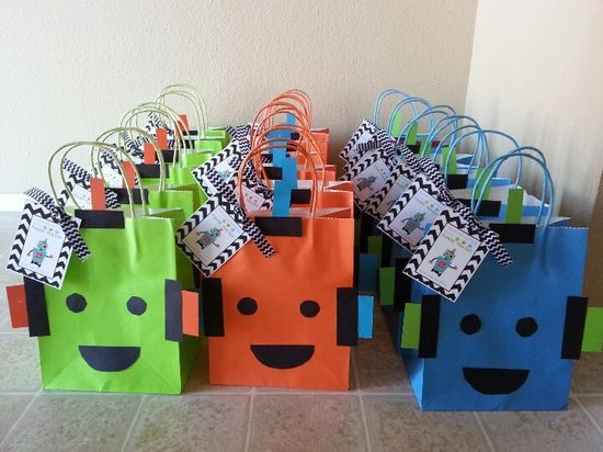 Robot party favor bags.