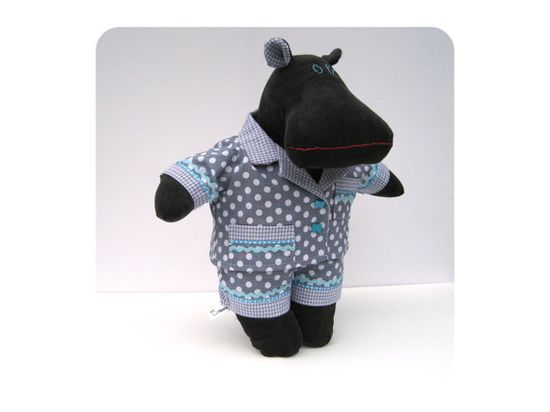 Hippo plushie - Handmade stuffed hippo - Modern stuffed animal - Unique kids toy - Stuffed toy - Mitch the Mippo - Grey plushie hippo in pjs by Mippoos --