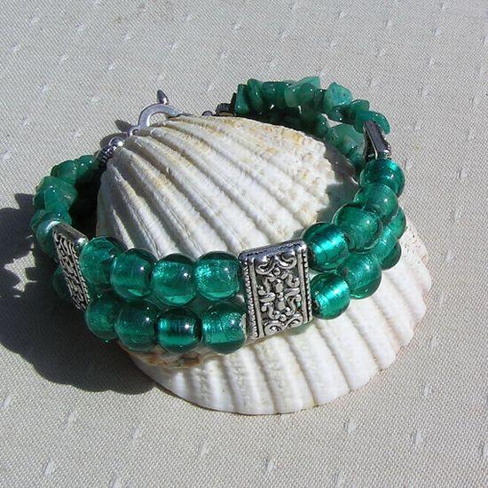 Gemstone Crystal Bracelet  Amazonite & Green by SunnyCrystals, £12.00