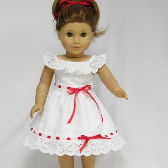 - White Eyelet Dress with Red Ribbon Trim