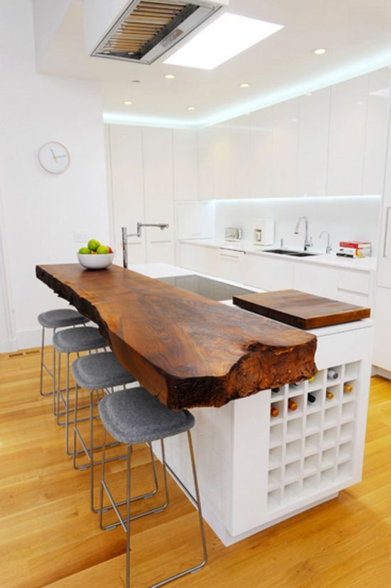 Love this wooden slab island counter! -White & Wood