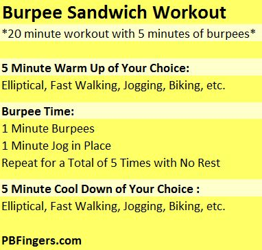 20 Minute Burpee Sandwich Workout yikes!