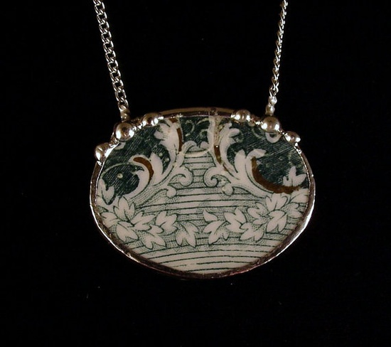 Antique teal english transferware ivy design. Broken china jewelry necklace. Made from a broken china plate by Dishfunctional Designs