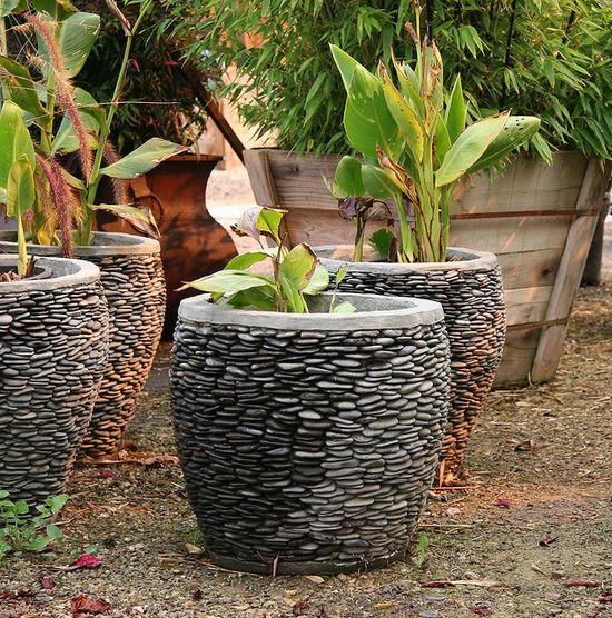 Pebble mosaic pots.