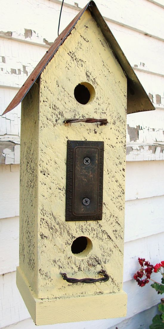 Recycled Vintage Finds Birdhouse Rustic Butter by baconsquarefarm
