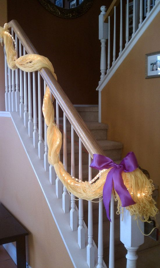 Rapunzel Party stair garland with lights : )