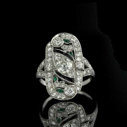 Diamond, Emerald and Onyx Art Deco Dinner Ring