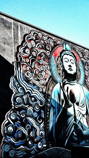Graffiti artworks urban street art graffit buddha for Buddha mural art