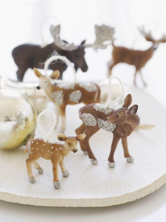 diy animal glitter ornaments
