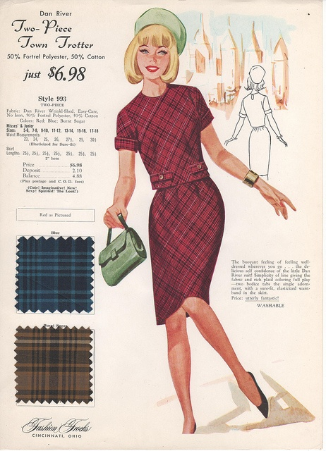 Chic plaid mid-60s two-piece summer style. #vintage #clothing #fashion #card #retro #sewing #catalog #1960s #sixties #dress