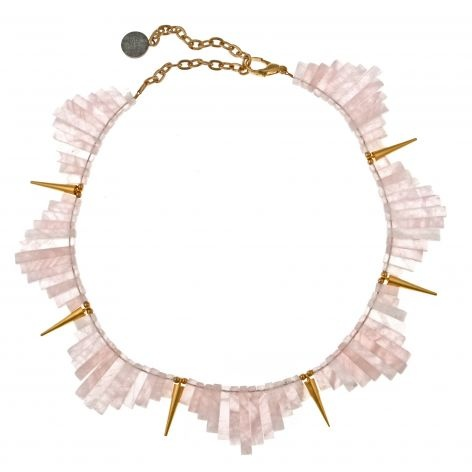 rose quartz and gold spikes collar necklace