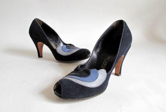 1940s suede peep-toe heels.