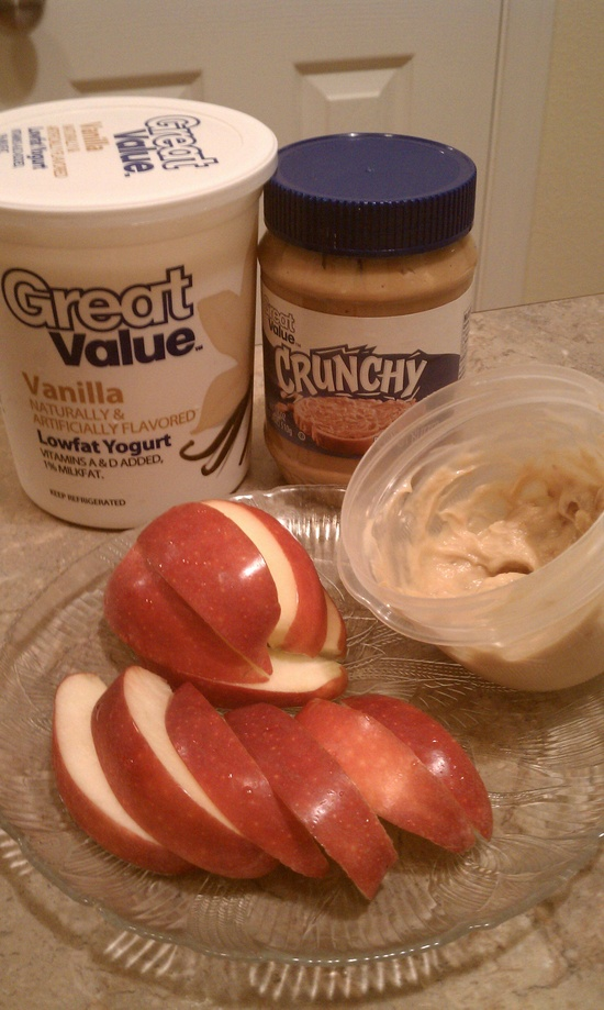 1 part peanut butter to 2 parts vanilla flavored yogurt. Yummy apple dip!