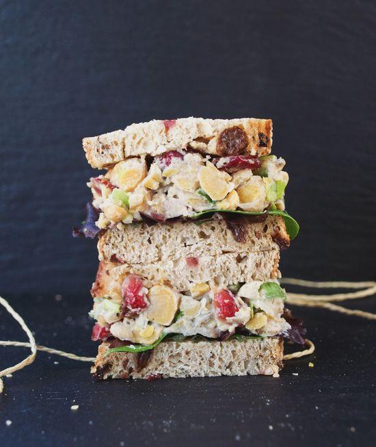 cranberry walnut chickpea salad sandwich