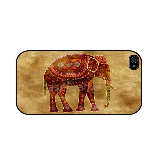 Indian Art Elephant iPhone 4, iPhone 4 case, iPhone 4S case, iPhone cover, iPhone hard case. $17.00, via Etsy.