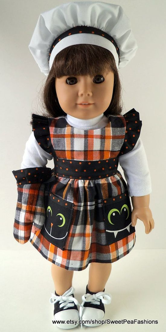 American Girl Halloween Pinafore Apron Set by SweetPeaFashions, $13.00