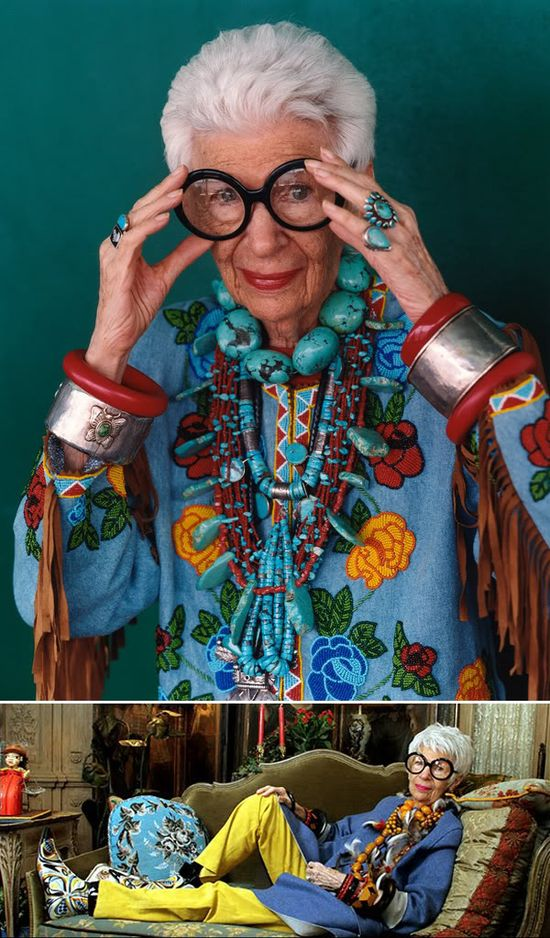 iris apfel. if this is me as an old woman, i'll be happy. what a cool lady.