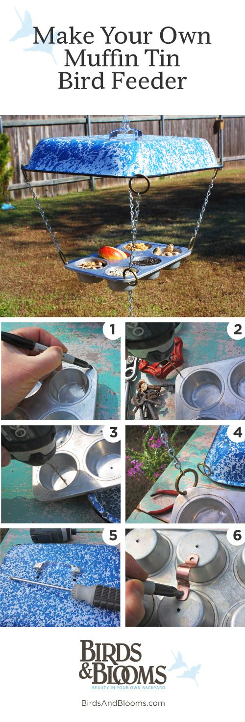 Take a break from baking & turn those muffin tins into a recycled bird feeder, c/o Birds & Blooms. #birds #DIY
