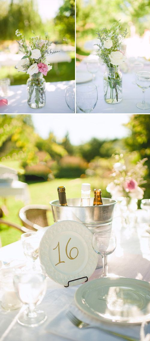 pretty flower arrangements and table decor for summer garden wedding, photo by Nordica Photography