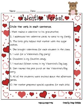 freebie valentine verbs -  Pinned by @PediaStaff – Please Visit ht.ly/63sNt for all our pediatric therapy pins